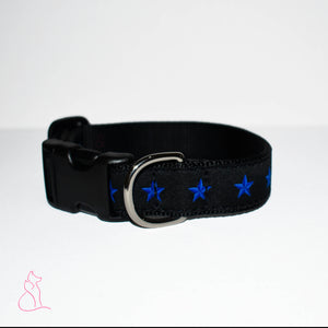 Blue Line of Stars Dog Collar (Black)