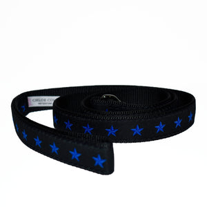 Blue Line of Stars Dog Leash (Black)