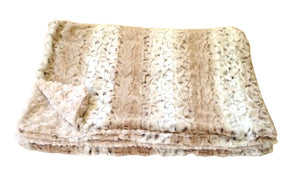 Reversible Frosted Snow Luxurious Fur Throw  58 x 36