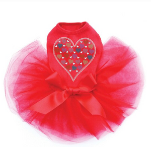 Heart with Multicolor Rhinestud Hearts - Tutu