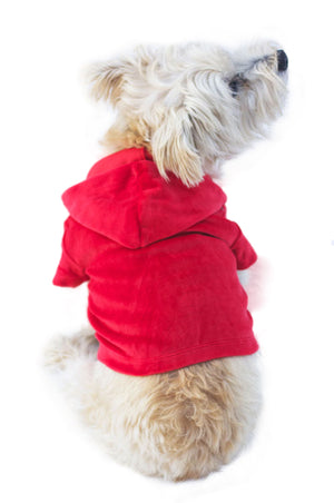Red Velour Hoodie Pullover
