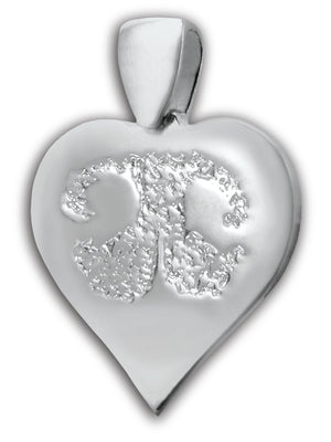 White Gold (14k) Heart Pet Print Charm