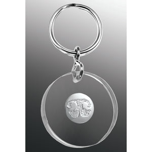 Paw Print Key Fob White Gold