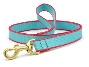 Aqua And Coral Bamboo Dog Leash