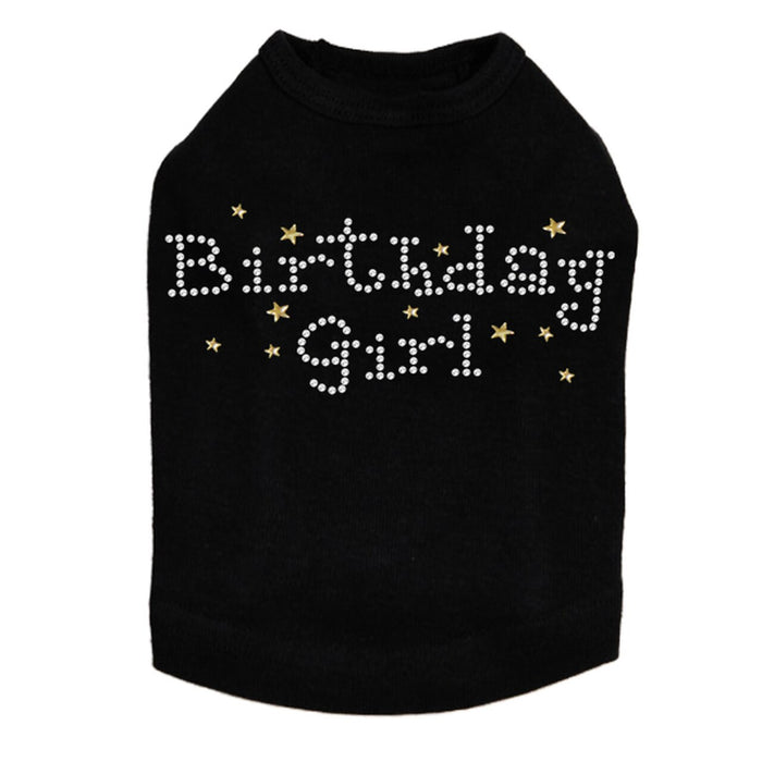 Birthday Girl with Stars - Dog Tank - Choose Color