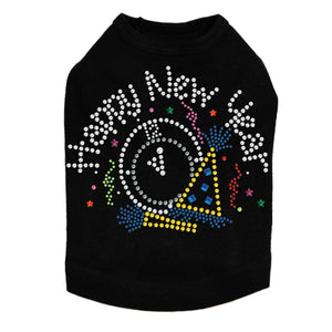 Happy New Year Clock - Dog Tank Black