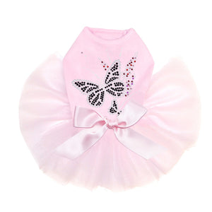 Black Butterfly & Flowers Pink Dog Tutu