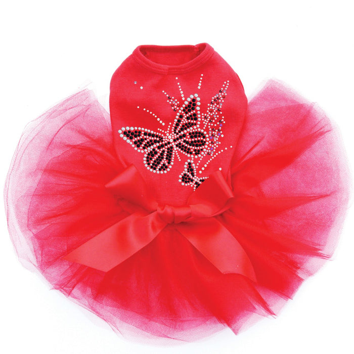 Black Butterfly & Flowers Red Dog Tutu