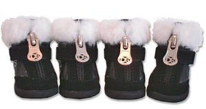 Black Hiker Dog Boot with Faux Fur Trim