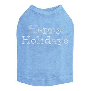 Happy Holidays - Dog Tank Light Blue