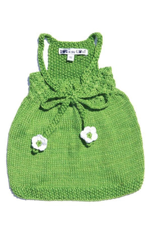 Daisy Green Hand Knit Sweater Dog Dress