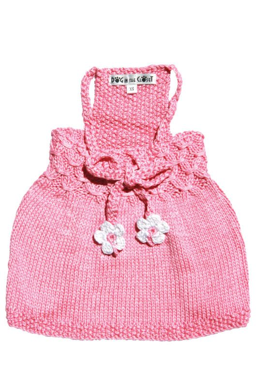 Daisy Pink Hand Knit Sweater Dog Dress