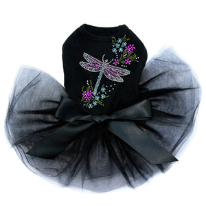 Dragonfly with Flowers Black Dog Tutu