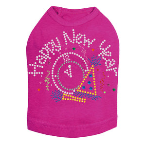 Happy New Year Clock - Dog Tank Fuchsia