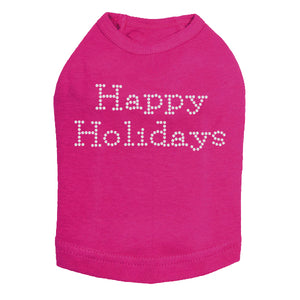 Happy Holidays - Dog Tank Fuchsia