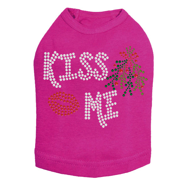 Kiss Me under the Mistletoe Dog Tank-Fuchsia