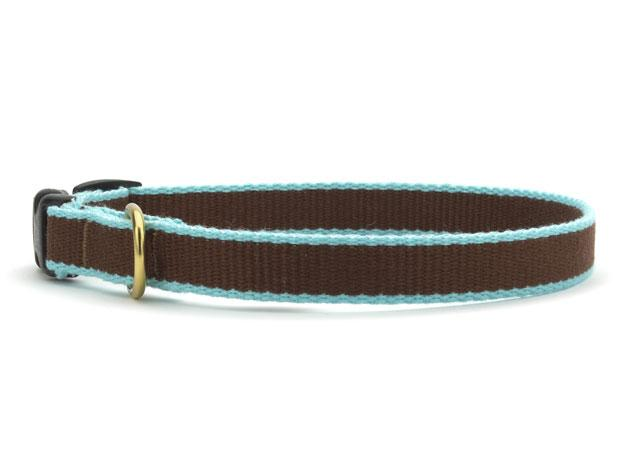 Bamboo Brown and Aqua Cat Collar