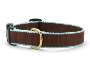 Brown and Aqua Bamboo Dog Collar