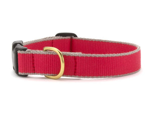 Red and Gray Bamboo Dog Collar