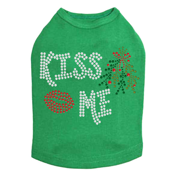 Kiss Me under the Mistletoe Dog Tank-Kelly Green