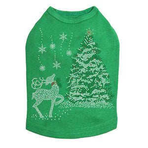 Christmas Tree with Reindeer - Dog Tank-Kelly Green