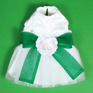 Madeleine Dog Dress With Kelly Green Sash