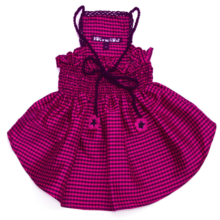 Lanna Fuchsia Checked Silk Dog Dress with Crochet Trim