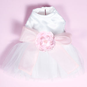 Madeleine Harness Dog Dress With Light Pink Sash