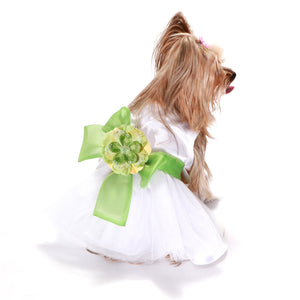 Madeleine Dog Dress With Leaf Green Sash
