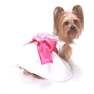 Madeleine Dog Dress With Hot Pink Sash