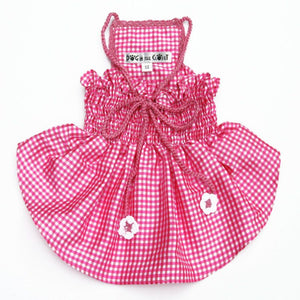 Lanna Pink Checked Silk Dog Dress With Crochet Trim