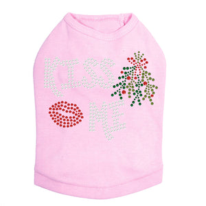 Kiss Me under the Mistletoe Dog Tank- Pink