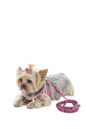 4ft Ultra Suede Leash, Pink Leopard