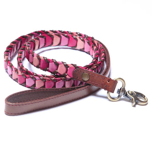 Shades of Pink Leather Dog Leash