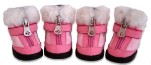 Pink Hiker Dog Boot with Faux Fur Trim