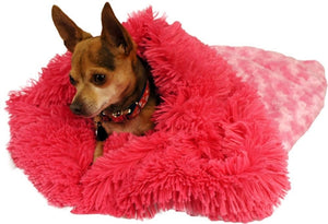 Pink Rosebud With Hot Pink Shag Cuddle Pouch