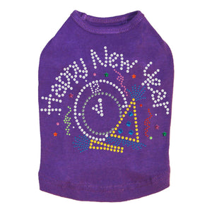 Happy New Year Clock - Dog Tank Purple