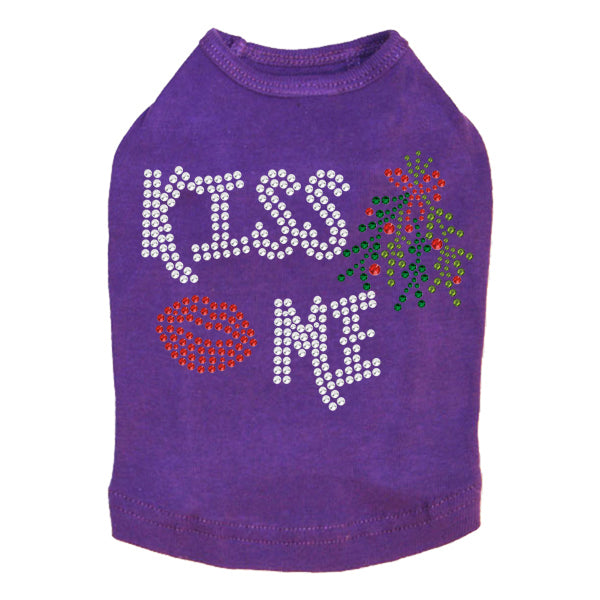 Kiss Me under the Mistletoe Dog Tank-Purple