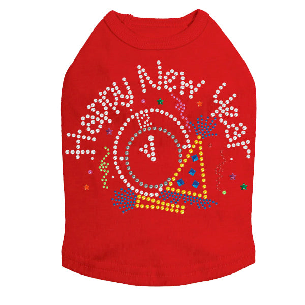 Happy New Year Clock - Dog Tank Red