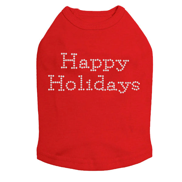 Happy Holidays - Dog Tank Red