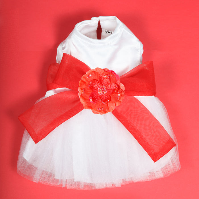Madeleine Dog Dress With Red Sash