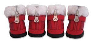 Red Hiker Dog Boot with Faux Fur Trim