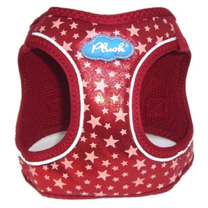 Red Plush Step In Vest Glitter Glow Harness