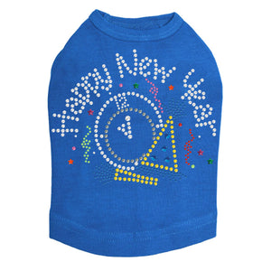 Happy New Year Clock - Dog Tank Royal Blue