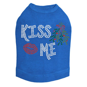 Kiss Me under the Mistletoe Dog Tank-Royal Blue