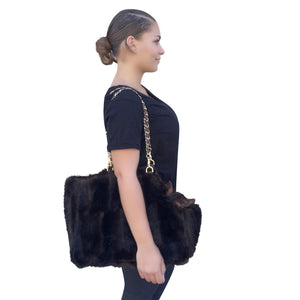 Stella Brown Mink Carrier with Chain Strap