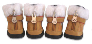 Tan Hiker Dog Boot with Faux Fur Trim