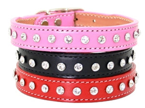Maxwell & Madison Collars w/ 1-Row of Swarovski Crystals Pink