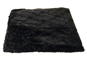 Reversible Black Roses Luxurious Fur Throw  58 x 36