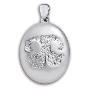 White Gold (14k) Paw Print Charm (Large)